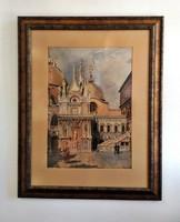 GRÓSZ M. jelzéssel festmény, 1900.k., vegyes technika karton, 60 x 48 cm, jjl. Grósz M.,