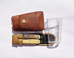 Német utazó készlet, pohár, kés, villa, bőr tokban