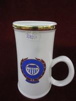 Hollóházi porcelán sörös emlék  korsó. Tatabányai Sport  Club címerével.