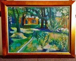 ROZSDA ENDRE (1913-1999) festmény, Kertrészlet, 1951., olaj vászon, 76 x 96 cm, jjl., ROZSDA 1951.