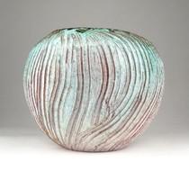 0X516 Jelzett retro kerámia gömbváza 13 cm