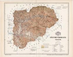 Zólyom vármegye térkép 1894 (4), lexikon melléklet, Gönczy Pál, 23 x 29 cm, megye, Posner Károly