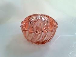 Rózsaszín üveg kis bonbonier / 2558
