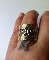Aranyozott kézműves ezüst gyűrű
