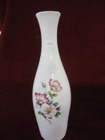 Hollóházi porcelán váza, hófehér alapon gyönyörű virágmintával.