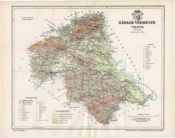 Zágráb vármegye térkép 1894 (6), lexikon melléklet, Gönczy Pál, 23 x 30 cm, megye, Posner Károly