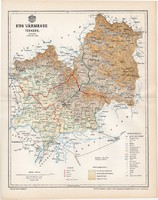 Ung vármegye térkép 1894 (4), lexikon melléklet, Gönczy Pál, 23 x 30 cm, megye, Posner Károly
