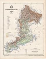 Zemplén vármegye térkép 1894 (3), lexikon melléklet, Gönczy Pál, 23 x 29 cm, megye, Posner Károly