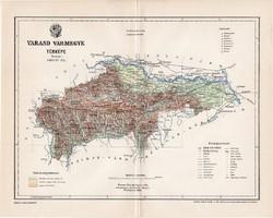 Varasd vármegye térkép 1897 (3), lexikon melléklet, Gönczy Pál, 23 x 29 cm, megye, Posner Károly
