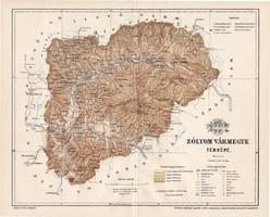 Zólyom vármegye térkép 1897 (5), lexikon melléklet, Gönczy Pál, 23 x 29 cm, megye, Posner Károly