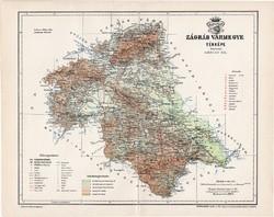 Zágráb vármegye térkép 1897 (5), lexikon melléklet, Gönczy Pál, 23 x 30 cm, megye, Posner Károly
