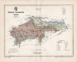 Varasd vármegye térkép 1897 (2), lexikon melléklet, Gönczy Pál, 23 x 29 cm, megye, Posner Károly
