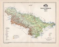 Verőce vármegye térkép 1897 (1), lexikon melléklet, Gönczy Pál, 23 x 29 cm, megye, Posner Károly