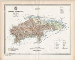Varasd vármegye térkép 1897 (4), lexikon melléklet, Gönczy Pál, 23 x 29 cm, megye, Posner Károly