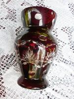 Retró csiszolt vörös üvegváza 2.