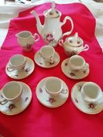 Rózsás Bernadotte porcelán kávés készlet 11 személyes,  vitrinállapotú