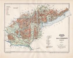 Zala vármegye térkép 1897 (1), lexikon melléklet, Gönczy Pál, 23 x 30 cm, megye, Posner Károly