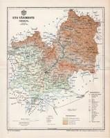 Ung vármegye térkép 1897 (1), lexikon melléklet, Gönczy Pál, 23 x 30 cm, megye, Posner Károly
