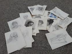 Ceruza rajzok akt portré vegyes egyben