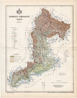 Zemplén vármegye térkép 1894 (2), lexikon melléklet, Gönczy Pál, 23 x 30 cm, megye, Posner Károly