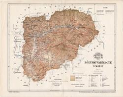 Zólyom vármegye térkép 1894 (6), lexikon melléklet, Gönczy Pál, 23 x 30 cm, megye, Posner Károly