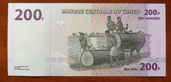 Kongó 200 Francs UNC bankjegy 2013