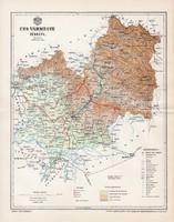 Ung vármegye térkép 1897 (2), lexikon melléklet, Gönczy Pál, 23 x 30 cm, megye, Posner Károly