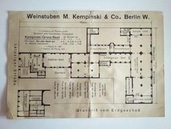 Kempinsky Hotel Berlin borozó alaprajz 1912/13