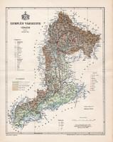 Zemplén vármegye térkép 1897 (1), lexikon melléklet, Gönczy Pál, 23 x 30 cm, megye, Posner Károly