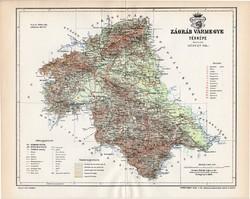 Zágráb vármegye térkép 1894 (2), lexikon melléklet, Gönczy Pál, 23 x 29 cm, megye, Posner Károly