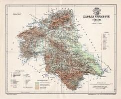 Zágráb vármegye térkép 1897 (4), lexikon melléklet, Gönczy Pál, 23 x 28 cm, megye, Posner Károly