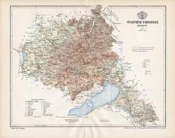Veszprém vármegye térkép 1893 (2), lexikon melléklet, Gönczy Pál, 23 x 30 cm, megye, Posner Károly