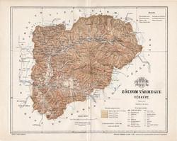 Zólyom vármegye térkép 1897 (2), lexikon melléklet, Gönczy Pál, 23 x 30 cm, megye, Posner Károly