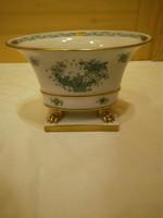 Herendi zöld Indiai kosármintás porcelán körmös kaspó, váza