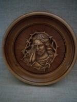 Kéri munkával  faragott fa áttört mintás domború Jézus mellkép arckép  kerek keményfa keretben