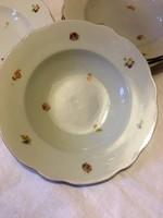 7 db antik Zsolnay pajzspecsétes virágos mély tányér készlet az 1930 -as évekből