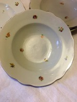 Zsolnay pajzspecsétes virágos mély tányér készlet az 1930 -as évekből 7 db