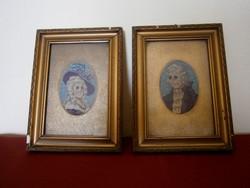 2 db antik tűgobelin kép aranyozott háttérrel, kerettel: barokk nő és férfi