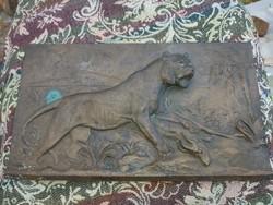 Antik bronz kép, kidomborodó állatokkal 1910 és évek.
