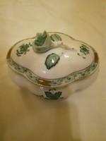 Herendi zöld Apponyi mintás porcelán ovális bonbonier