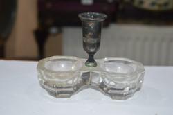 Régi alpakka felsőrészes üveg sótartó