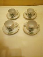 4 db Herendi hecsedli, csipkebogyó mintás porcelán kávés csésze + alj