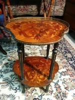 Viktória stílusú intarziás porcelántartó asztal