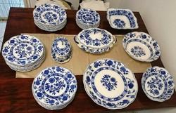 12.szem. kék hagymamintás angol porcelán étkészlet
