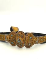Kokoshnik Oroszország 875.ös 1800-as évek vége Antik filigrán ezüst öv aranyozva