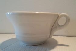 Antik kőporcelán csésze fehér régi népi vastagfalú bögre