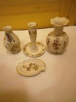4 db-os Zsolnay porcelán váza, gyertyatartó, hamutál szett