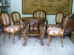 Neobarokk szék 4 db és fotel 1 db