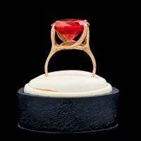 ART DECO 12ct Padparadscha arany gyűrű