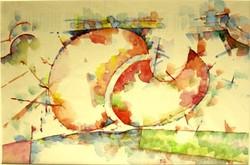 Gerzson Pál - Két fa 19 x 28 cm akvarell, papír 1988-ból